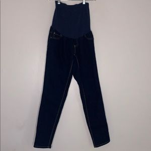 Indigo Blue Belly Band Maternity Jeans Straight 4